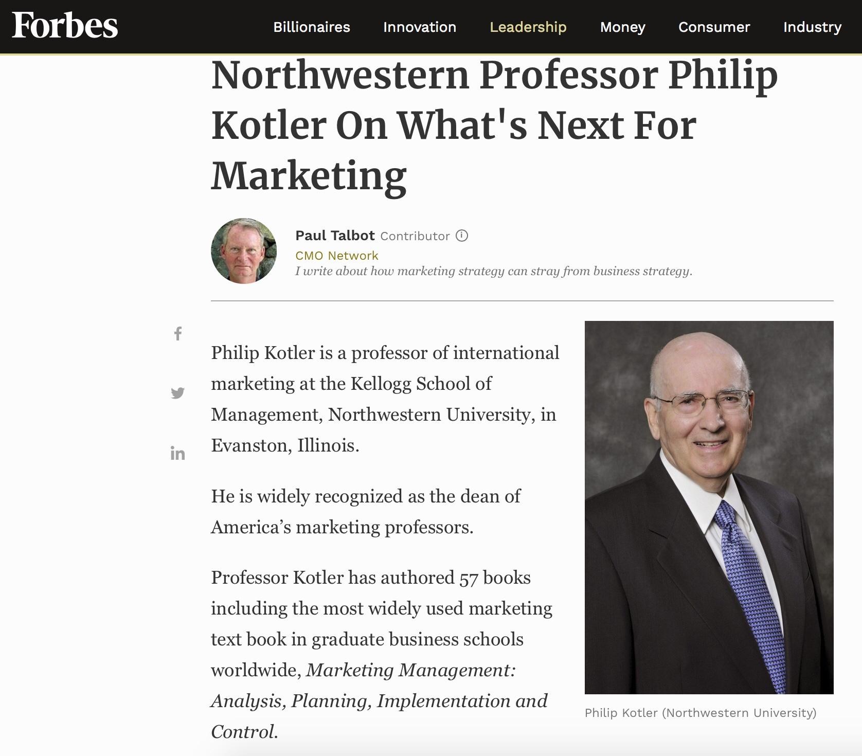 Philip Kotler (Northwestern University) What's Next For Marketing